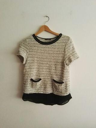 Blusa combinada negra y blanca