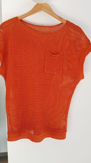 Suéter croché calado color caldera