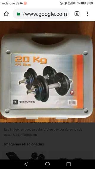 Kit Mancuernas 20kg ( cierres metálicos de rosca)