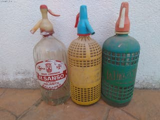 Botellas sifón soda antiguos