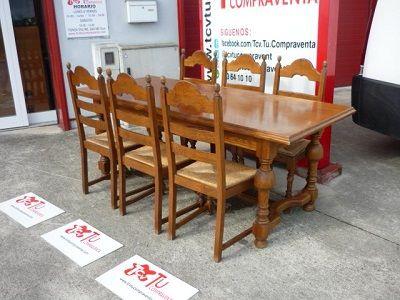 Mesa comedor castaño rustica con 6 sillas 200 cm de segunda mano por ...