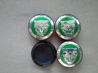 4 Tapabujes centro de llantas Jaguar verde 58mm.