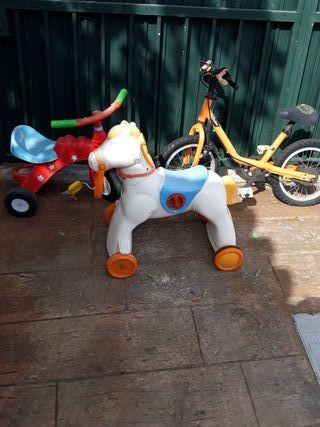 lote bici, caballo, triciclo