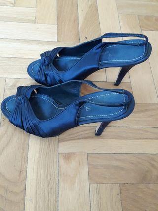 zapatos tacón azul marino talla 37