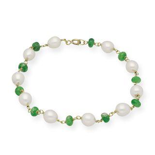 Pulsera oro 18k con Perlas Cultivadas y Esmerladas
