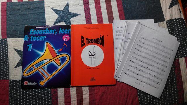 Trombón + funda + libros de teoría y práctica