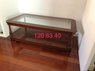 Mesa de centro de madera maciza con tapa cristal