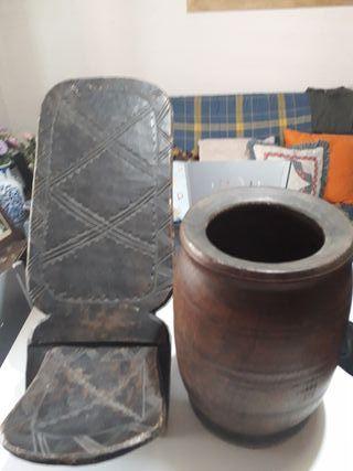 Arte Africano lote silla + recipiente Madera