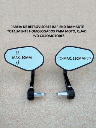 pareja espejos retrovisores bar end homologados