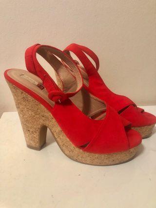 69741245 Sandalias de cuña rojas de segunda mano en la provincia de Barcelona ...