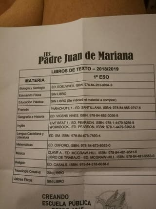 Libros 1° ESO instituto Padre Juan de Mariana