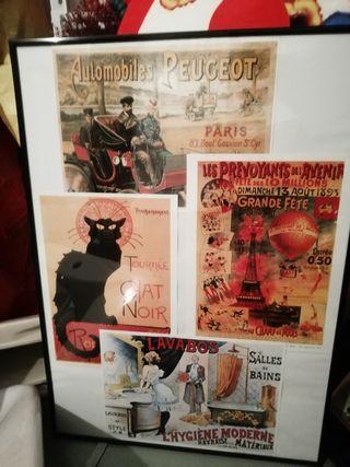 Cuadro con láminas postales de Francia