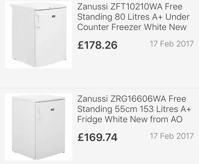 Zanussi fridge freezer under counter