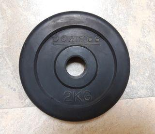 Discos de caucho de musculación 2 kg 28mm Domyos