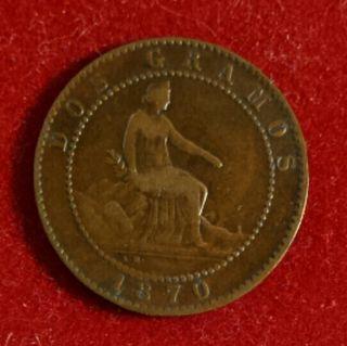 Moneda 2 céntimos 1870 Gobierno Provisional