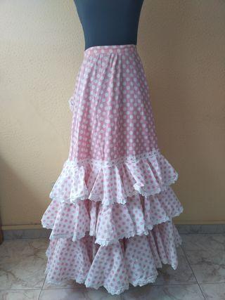 falda rosa conjunto con blusa rociera