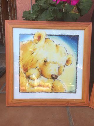 Dos cuadros infantiles de oso