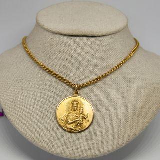 Cadena con medalla Virgen del Carmen, oro de 18k