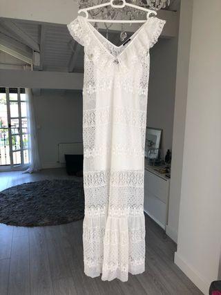 Vestido blanco encaje , largo Talla M