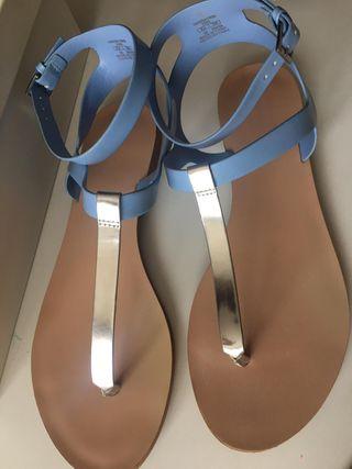 Sandalias Planas Azul Cielo