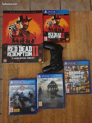 Lot jeux PS4 + Manette + Livre