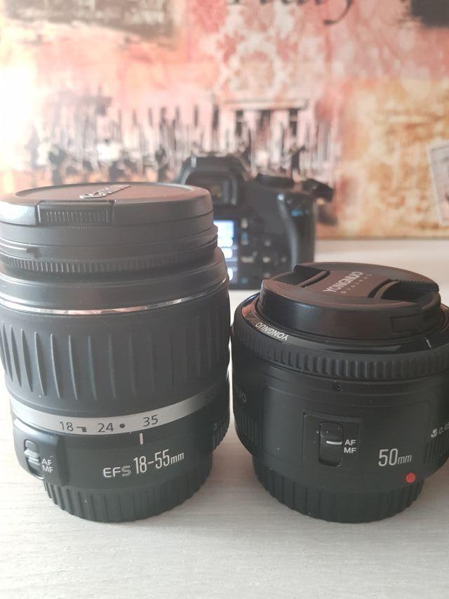 Canon 450d con tres objetivos, 18-55, 55-250 y 50