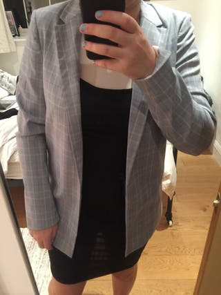 New Look Grey Checkered Blazer