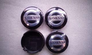 4 Tapabujes centro de ruedas Volvo Negro logo 63mm