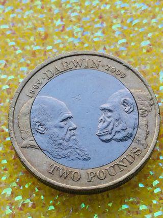 2 pound coin Charles Darwin 2009.