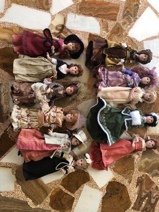 Muñecas de porcelana damas de época