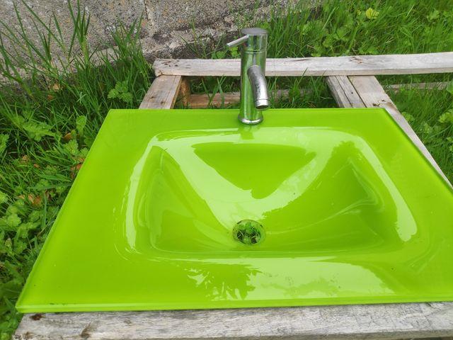 Lavabo Verde Pistacho.Lavabo De Cristal Verde Pistacho De Segunda Mano Por 50 En