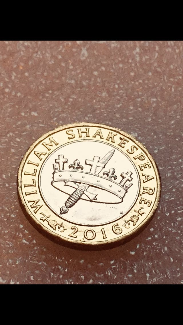 2 pound coin William Shakespeare 2016.