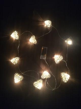Luces led decoración corazón (incluye pilas)