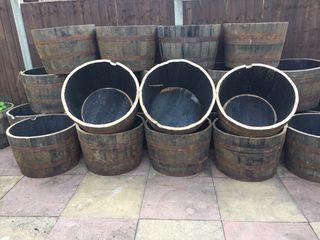 Oak Barrel Planters