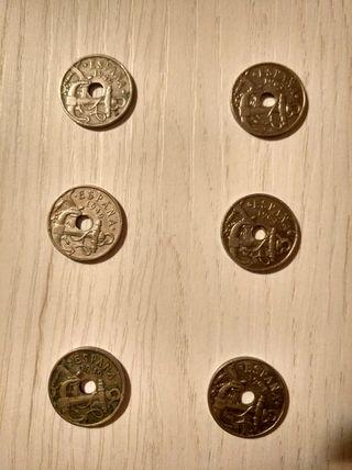 6 monedas de 50 cts años 49 y 63