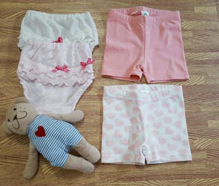 Lote 2 culotes 6-9 meses +2 short niña rosa blanco