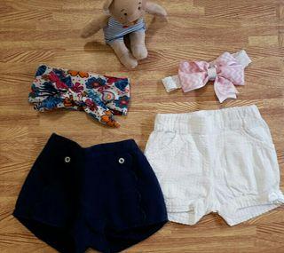Lote 2 shorts 6 meses + lazos bebe ideal conjunto