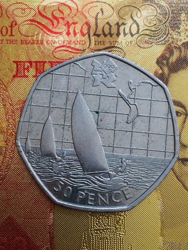 50p coin sailing Olympic Games London 2011.