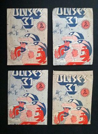 Lote 4 sobres cromos Ulises 31 año 1981