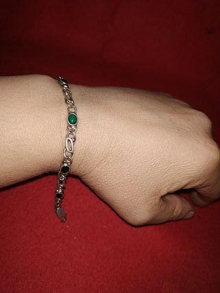 pulsera de plata años 80 cadena cartier y esmerald