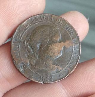 5 centimos de escudo 1868 Isabel II