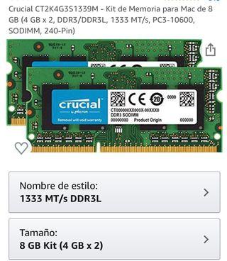 Memoria RAM 8GB marca Crucial