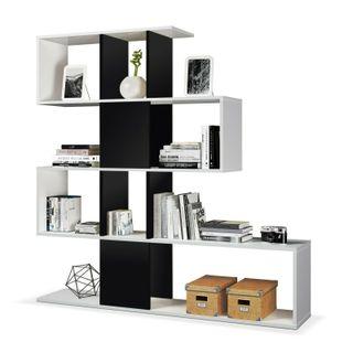 Estanteria libreria salon, color Blanco y Negro