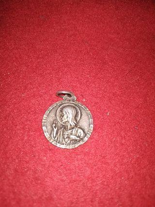 medalla antigua plata sagrado corazon