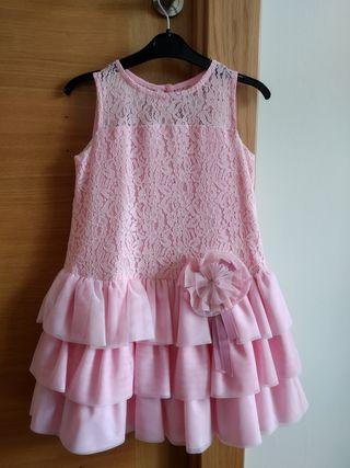 Vestido niña rosa talla 6 años..