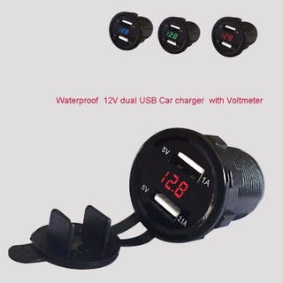Voltímetro y cargador doble Usb coche/moto