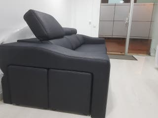 sofa 3 Plazas abatible italiano 2 pouff 5 plazas