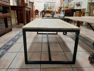 Mesa madera artesanal tipo industrial auxiliar