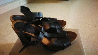 sandalias piel negro mujer