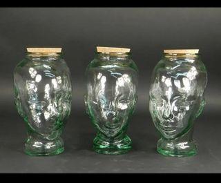 Cabezas de cristal tamaño real